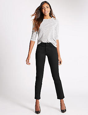 Sculpt & Lift Straight Leg Jeans, BLACK, catlanding