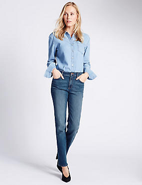 Sculpt & Lift Straight Leg Jeans, MEDIUM INDIGO, catlanding