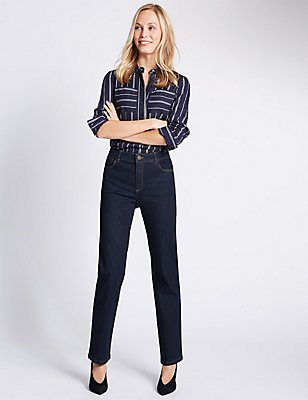 Sculpt & Lift-Jeans mit geradem Bein, INDIGO MELANGE, catlanding
