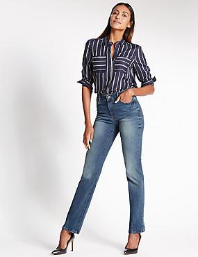 Figuurcorrigerende jeans met rechte pijpen, MIDDEN INDIGO, catlanding