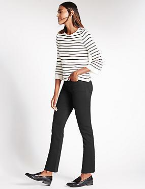 Sculpt & Lift-Jeans mit geradem Bein, SCHWARZ, catlanding