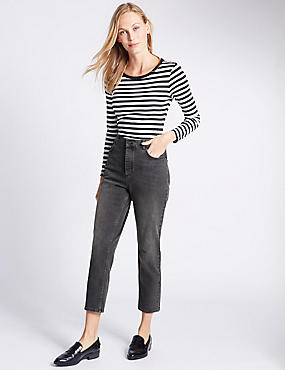 Button Fly Straight Leg Jeans, BLACK MIX, catlanding