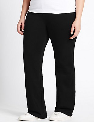 Cotton Rich Straight Leg Joggers, BLACK, catlanding