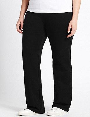 PLUS Cotton Rich Straight Leg Joggers, BLACK, catlanding