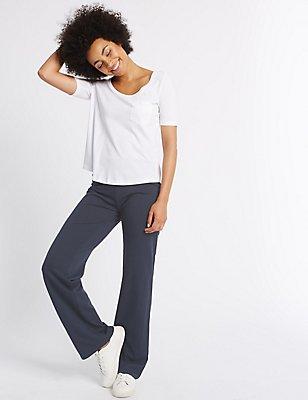 Flat Front Straight Leg Trousers, NAVY, catlanding
