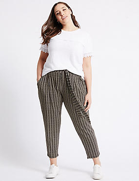 Tie Waist Cropped Tapered Leg Trousers, BLACK MIX, catlanding