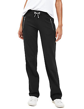 Cotton Rich Drawstring Waist Straight Leg Joggers, BLACK, catlanding