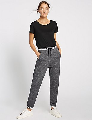 Drawstring Sporty Joggers, GREY MIX, catlanding