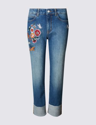 Прямые укороченные джинсы с цветной вышивкой M&S Collection T576607