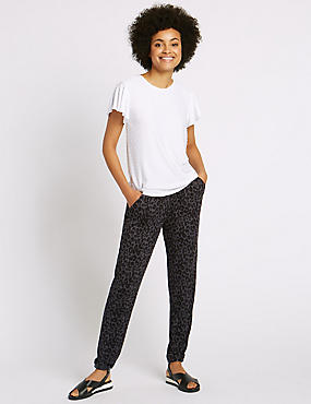 Animal Print Tapered Leg Trousers, GREY MIX, catlanding