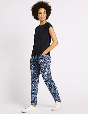 Pantalon fuselé à imprimé batik de style géométrique, BLEU ASSORTI, catlanding