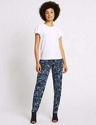 Leaf Print Tapered Leg Trousers, MULTI, catlanding