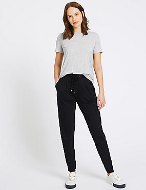 Cotton Rich Tapered Leg Joggers, BLACK, catlanding