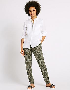 Geometric Print Tapered Leg Trousers, KHAKI MIX, catlanding