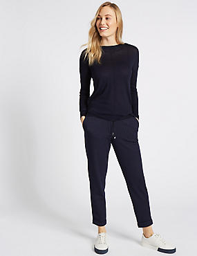 Striped Trousers , NAVY MIX, catlanding