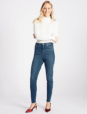 High Waist Skinny Leg Jeans, MEDIUM INDIGO, catlanding