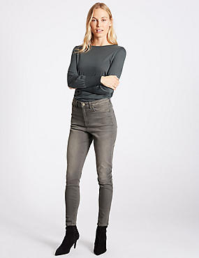 High Waist Skinny Leg Jeans, MEDIUM GREY, catlanding