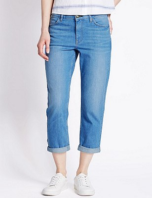 Relaxed Skinny Cropped Denim Jeans, BRIGHT BLUE, catlanding