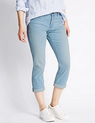 Relaxed Skinny Cropped Denim Jeans, BLEACHED, catlanding