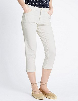 Relaxed Skinny Cropped Denim Jeans, SOFT WHITE, catlanding