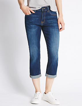 Relaxed Skinny Cropped Denim Jeans