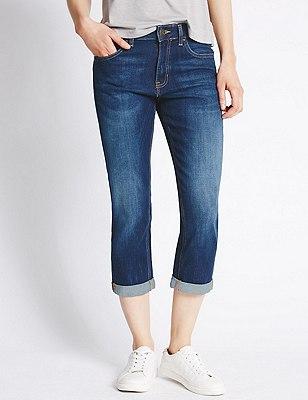 Relaxed Skinny Cropped Denim Jeans, DARK INDIGO, catlanding