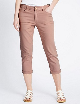 Relaxed Skinny Cropped Denim Jeans, DUSTED PINK, catlanding