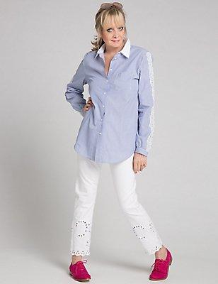 Cutwork Detail Slim Leg Jeans, ECRU, catlanding