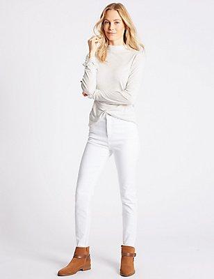 High Waist Skinny Leg Jeans, WHITE, catlanding