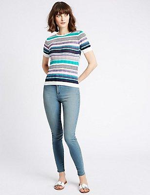 Mid Rise Skinny Leg Jeans, PALE BLUE, catlanding