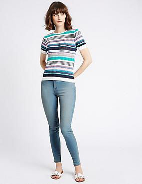 Jeans met middelhoge taille en smalle pijpen, LICHTBLAUW, catlanding