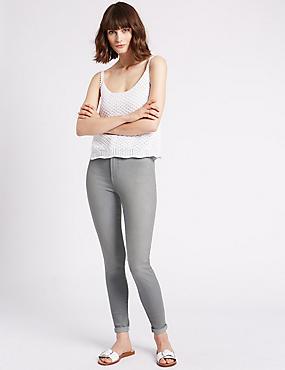 Jeans met middelhoge taille en smalle pijpen, LICHTGRIJS, catlanding