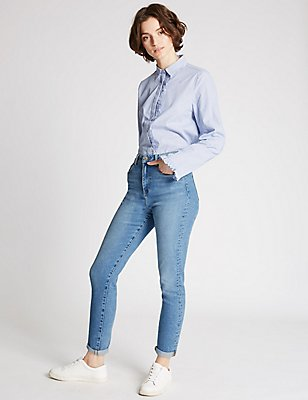 High Rise Slim Leg Mom Jeans, LIGHT INDIGO, catlanding