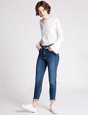 High Rise Ankle Grazer Mom Jeans, INDIGO, catlanding