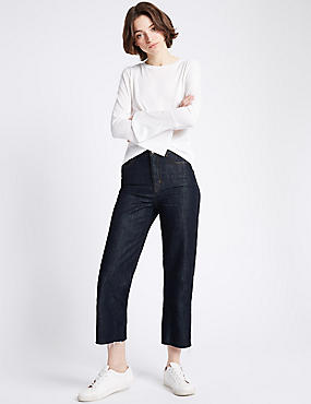 Mid Rise Wide Leg Jeans, DARK INDIGO, catlanding