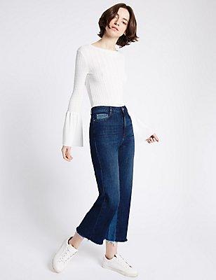 Mid Rise Wide Leg Jeans, INDIGO, catlanding