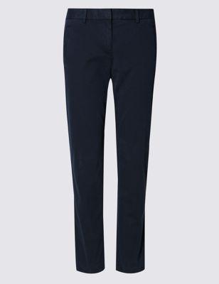 Однотонные хлопковые брюки чинос прямого кроя