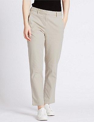 Cotton Rich Straight Leg Chinos, NEUTRAL, catlanding