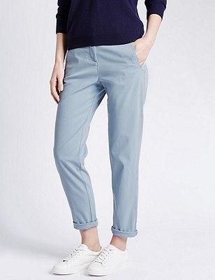 Cotton Rich Straight Leg Chinos, SKY BLUE, catlanding