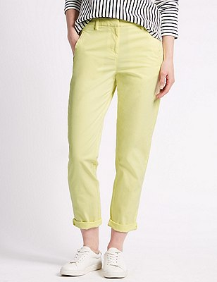 Cotton Rich Straight Leg Chinos, SUNSHINE, catlanding