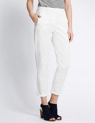 Cotton Rich Straight Leg Chinos, WHITE, catlanding
