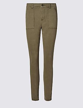 Cotton Rich Slim Fit Cargo Trousers, KHAKI, catlanding