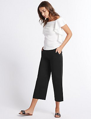 Cotton Rich Cropped Wide Leg Trousers, BLACK, catlanding
