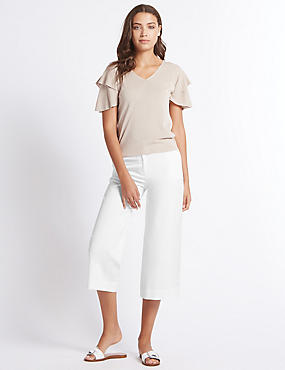 Cotton Rich Cropped Wide Leg Trousers, WHITE, catlanding