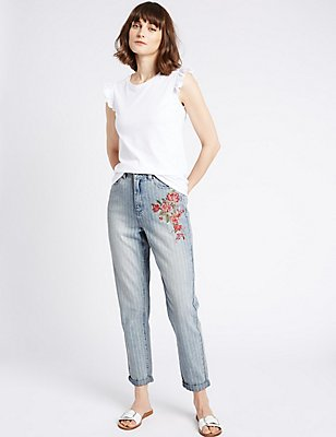 Floral Embroidered High Rise Mom Jeans, LIGHT INDIGO, catlanding