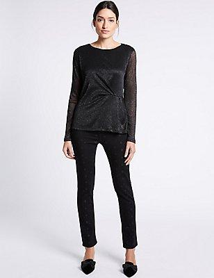 Bling Detail Roma Rise Slim Leg Jeans, BLACK, catlanding