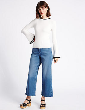 High Waist Cropped Slim Bootcut Jeans, MEDIUM INDIGO, catlanding