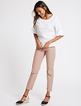 Pure Cotton Straight Fit Chinos, LIGHT PINK, catlanding