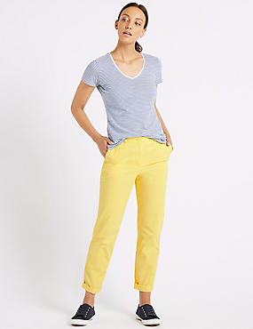 Pure Cotton Straight Fit Chinos, YELLOW, catlanding