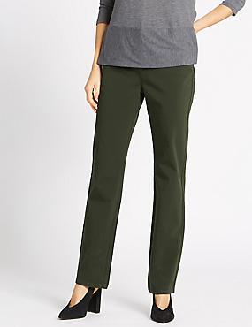 Stretch Straight Leg Trousers, BARK, catlanding